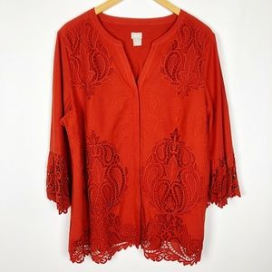 Chicos Red Eyelet Lace Bell Sleeve V Neck Blouse
